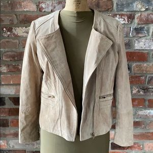 MNG Genuine Leather Jacket Tan Camel Gold Zippers